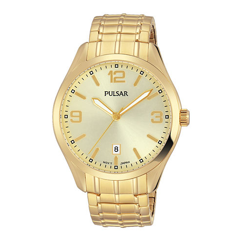 Pulsar Mens Gold Tone Expansion Watch-Ps9488