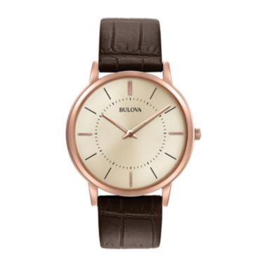 jcpenney.com | Bulova® Mens Rose Gold Tone And Brown Classic Ultra Slim Leather Strap Watch 97A126