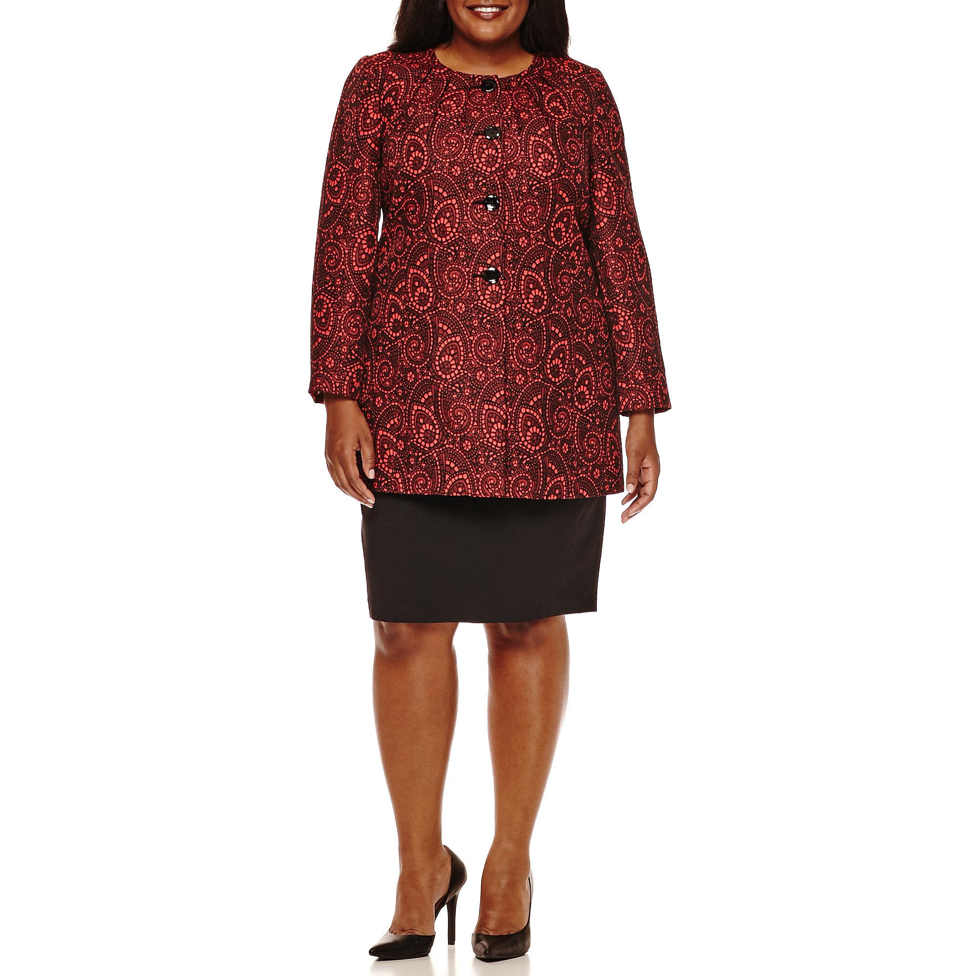 Isabella Long-Sleeve Long Jacket Swirl Skirt Suit Set - Plus plus size,  plus size fashion plus size appare