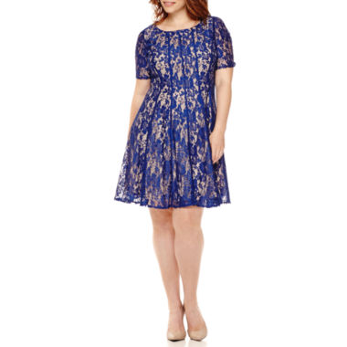 jcpenney.com | Danny & Nicole® Elbow-Sleeve Lace Fit-and-Flare Dress - Plus