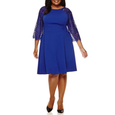 jcpenney.com | Ronni Nicole 3/4-Sleeve Scuba Fit-and-Flare Dress