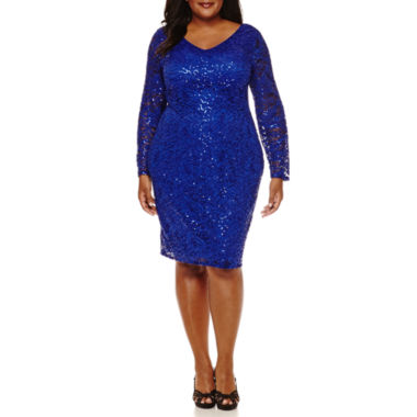 jcpenney.com | Blu Sage Long-Sleeve Lace V-Neck Sheath Dress - Plus