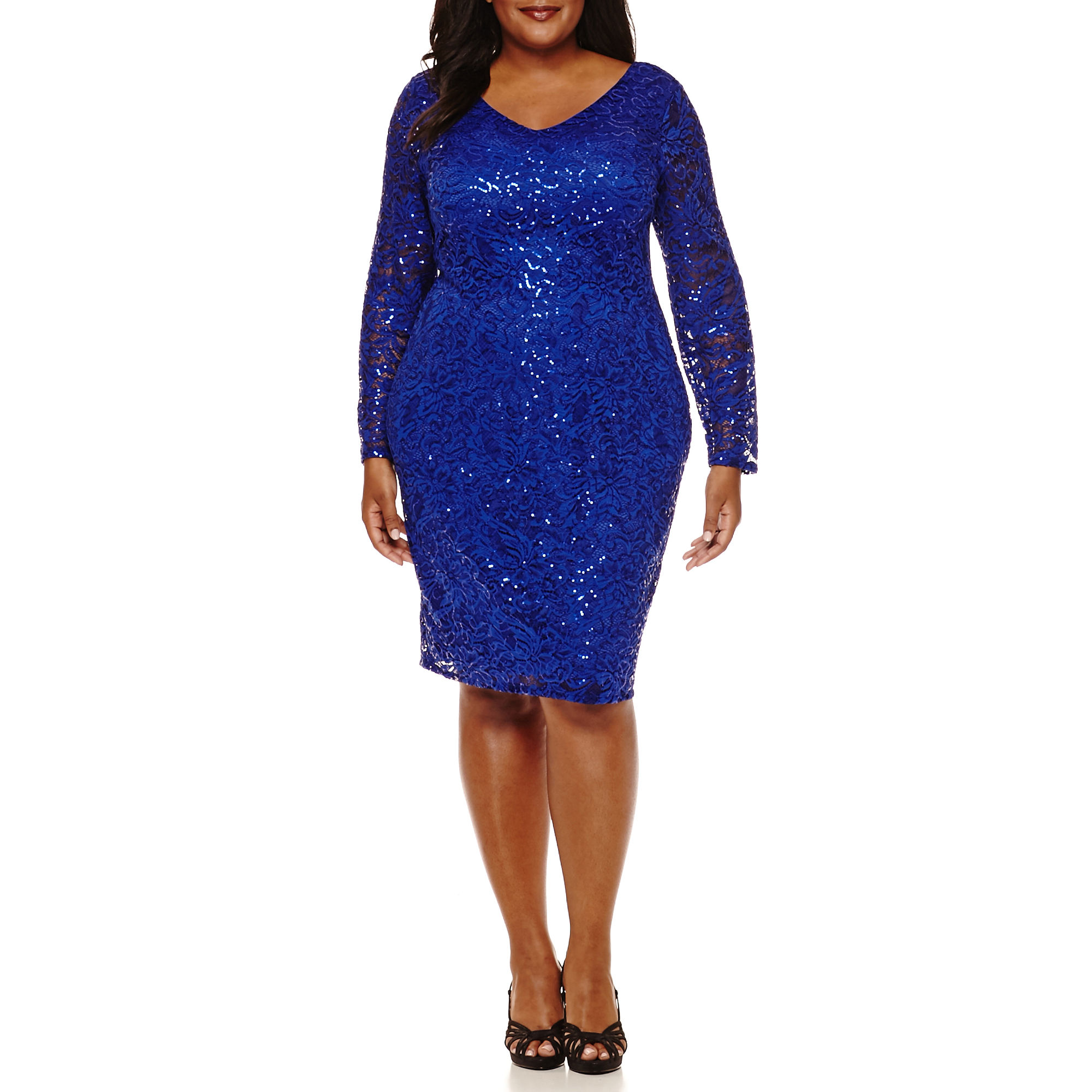 Blu Sage Long-Sleeve Lace V-Neck Sheath Dress - Plus