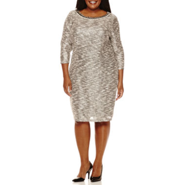 jcpenney.com | Be by CHETTA B 3/4-Sleeve Chain Neck Sheath Dress - Plus
