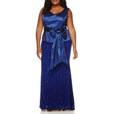 jcpenney.com | Blu Sage Sleeveless Sash Lace Gown - Plus
