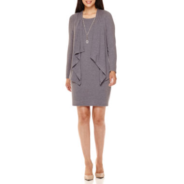 jcpenney.com | R&K Originals® Long-Sleeve Necklace Jacket Dress - Petite