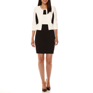 jcpenney.com | Studio 1® 3/4-Sleeve Textured Knit Colorblock Jacket Dress - Petite