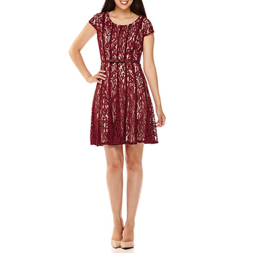 R&K Originals® Short-Sleeve Belted Lace Fit-and-Flare Dress - Petite