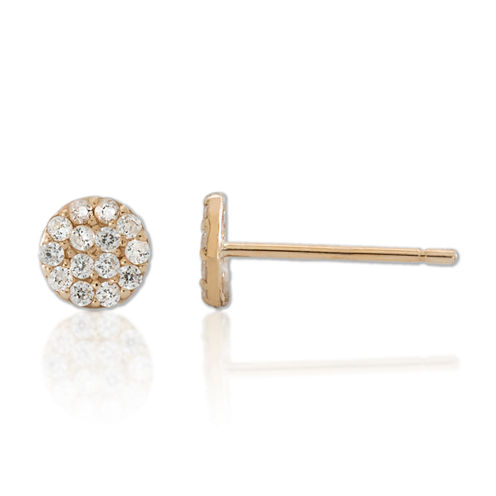 Children's 14K Gold Cubic Zirconia Cluster Ball Stud Earrings
