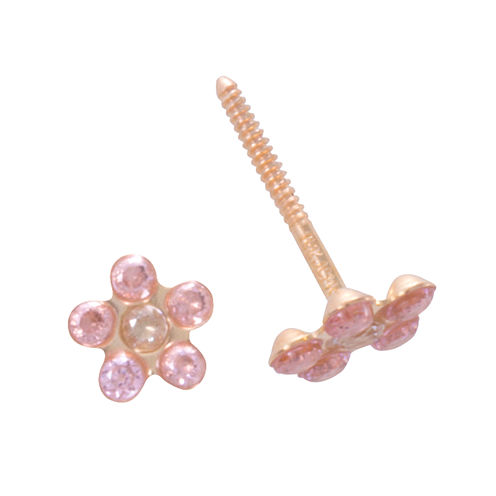 Children's 14K Pink And White Cubic Zirconia Flower Stud Earrings