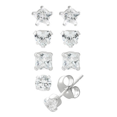jcpenney.com | Children's Sterling Silver 4-pc 4mm Multi Cubic Zirconia Stud Earrings Set