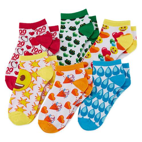 Emoji 6-pk. Multi Allover No-Show Socks - Girls 4-10