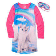 Star Ride Kids Unicorn Cat Photo-Real Nightshirt with Eye Mask - Girls 7-20
