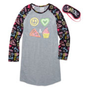 Star Ride Kids Emoji Nightshirt with Eye Mask - Big Kids 7-20