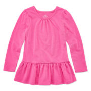Okie Dokie® Long-Sleeve Peplum Top - Toddler Girls 2t-5t