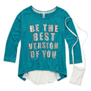 Knit Works® 3/4-Sleeve Graphic High-Low Top with Phone Pouch - Girls 7-16