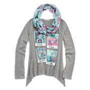 One Step Up® Long-Sleeve Graphic Sharkbite Tee with Print Scarf - Girls 7-16