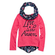 One Step Up® Long-Sleeve Graphic Print Back Tee with Print Scarf - Girls 7-16