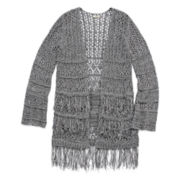 Arizona Long-Sleeve Tiered Fringe Cardigan - Girls 7-16