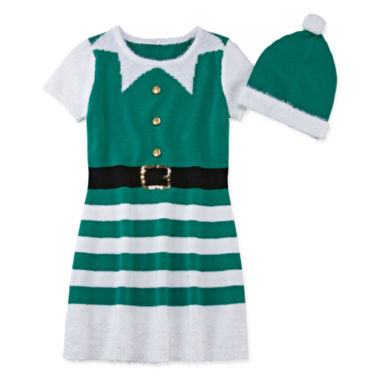 jcpenney.com | Fashion Avenue Short-Sleeve Green Elf Sweater Dress - Girls 7-16