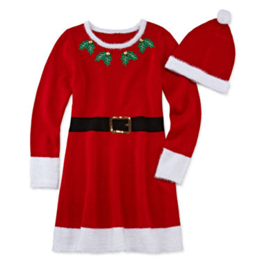 jcpenney.com | Fashion Avenue Short-Sleeve Red Santa Sweater Dress - Girls 7-16