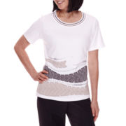 Alfred Dunner® Acadia 3/4-Sleeve Applique Top