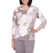 Alfred Dunner® 3/4-Sleeve Floral-Print Top