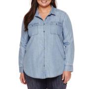Liz Claiborne® Long-Sleeve Button-Front Denim Shirt - Plus