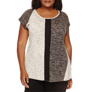 jcpenney.com | Worthington® Short-Sleeve Colorblock Tee - Plus