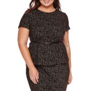 Liz Claiborne® Short-Sleeve Belted Textured Peplum Top - Plus