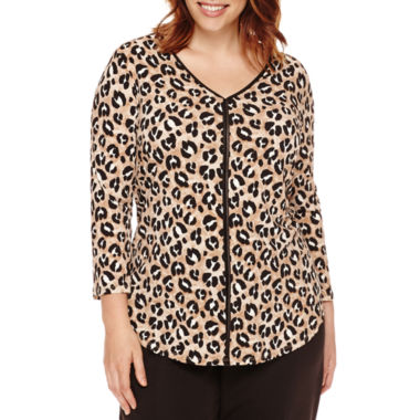 jcpenney.com | Liz Claiborne® 3/4-Sleeve V-Neck Top - Plus