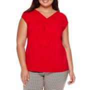 Liz Claiborne® Sleeveless Crisscross Knit Top - Plus