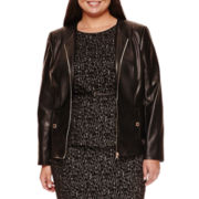 Liz Claiborne® Long-Sleeve Faux-Leather Peplum Jacket - Plus
