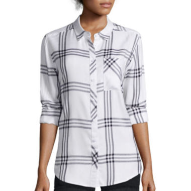 jcpenney.com | Arizona Long-Sleeve Boyfriend Plaid Shirt - Juniors