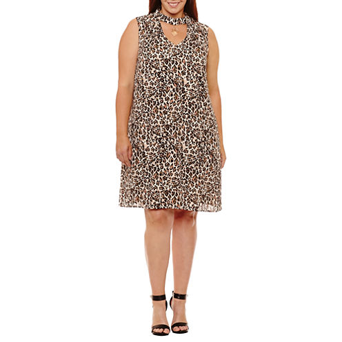 Luxology Sleeveless Animal Shift Dress-Plus