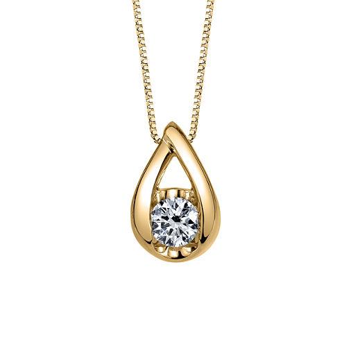 Sirena Womens 1/6 CT. T.W. White Diamond 14K Gold Pendant Necklace