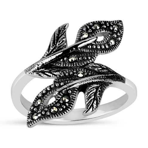 Swarovski Womens Genuine Black Marcasite Sterling Silver Bypass Ring