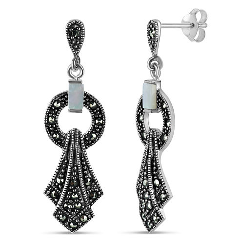White Mother Of Pearl Sterling Silver Drop Earrings