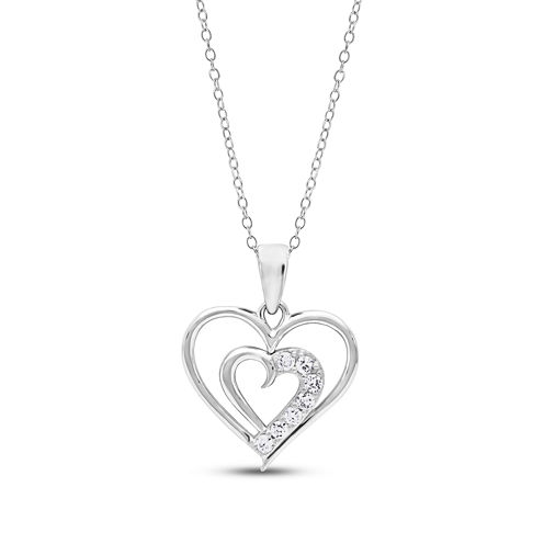 Diamonart Womens 1/4 CT. T.W. White Cubic Zirconia Sterling Silver Pendant Necklace