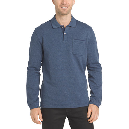 Van Heusen Long Sleeve Heather Tipped Polo