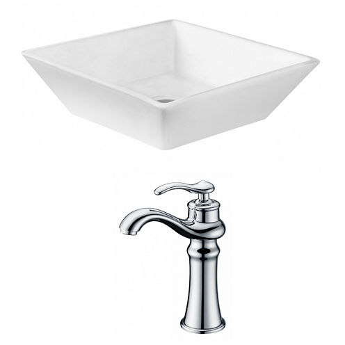 American Imaginations 15.75-in. W Above Counter White Vessel Set For Deck Mount Drilling - Faucet Included