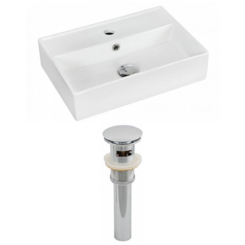 American Imaginations 19.75-in. W Wall Mount WhiteVessel Set For 1 Hole Center Faucet