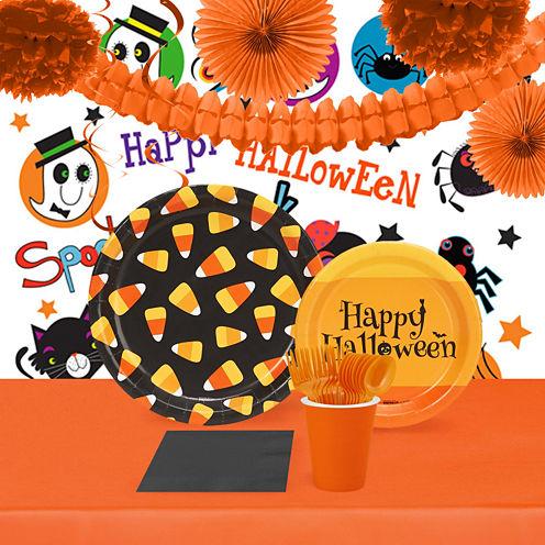 Halloween Candy Corn 16 Guest Tableware & Room Decor Kit
