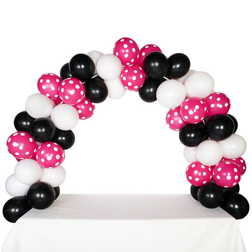 Celebration Tabletop Balloon Arch-Black White & Hot Rose with White Dots