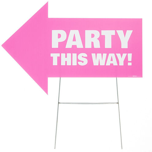 Party This Way Yard Sign Pink