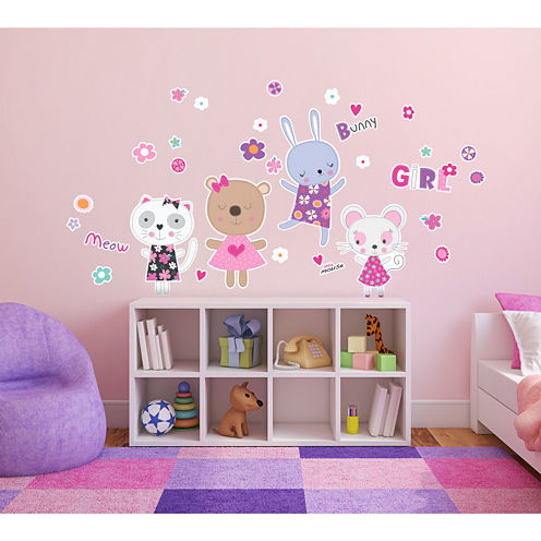 Kitten and Bunnies Girly Flower Home Room Decor Removable Wall Locker Door Decal Kids Children
