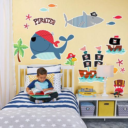 Pirate Treasure Sea Life Home Room Decor RemovableWall Locker Door Decal Kids Children