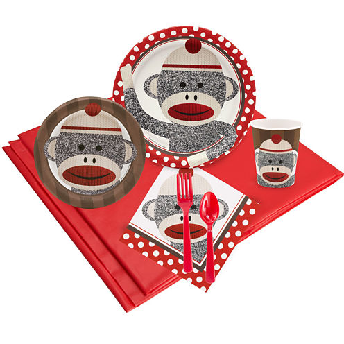 Sock Monkey Red 24 Guest Party Pack