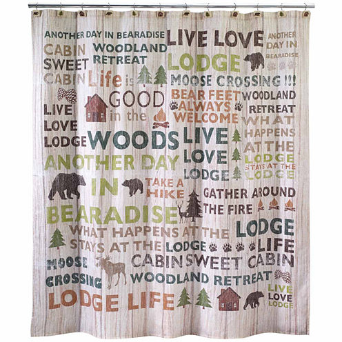 Avanti Cabin Words Shower Curtain JCPenney - Shower curtain with words