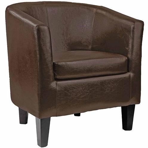 Antonio Leather Barrel Chair